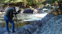 bob hilscher filming on oxtongue river