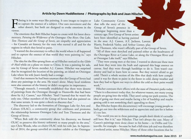 muskokamagazine article - Painting the Wilderness - page 37