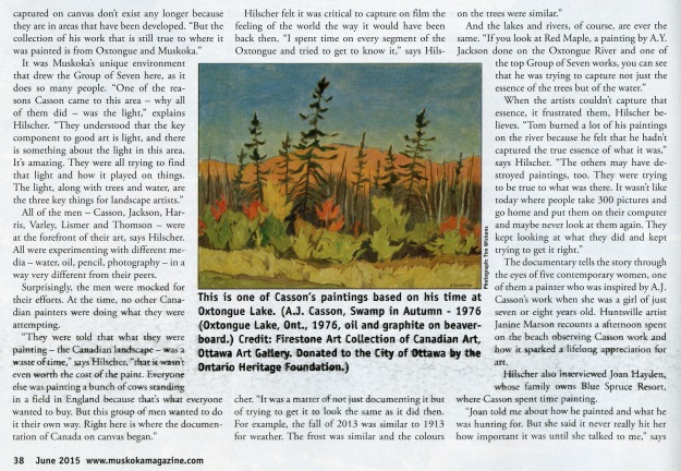 muskokamagazine article - Painting the Wilderness - page 38