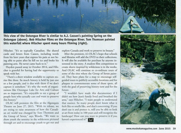 muskokamagazine article - Painting the Wilderness - page 39