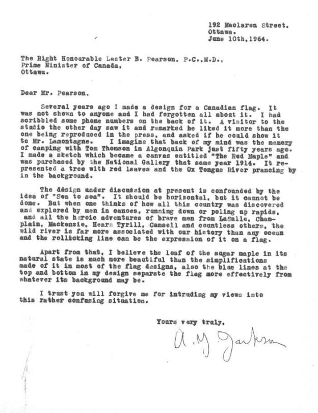 a y jackson letter to PM Pearson regards canadian flag debate